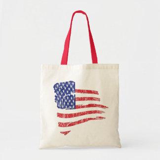 GRUNGE STYLE US FLAG CANVAS BAG