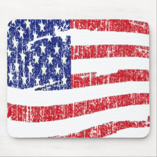 GRUNGE STYLE US FLAG MOUSE PAD
