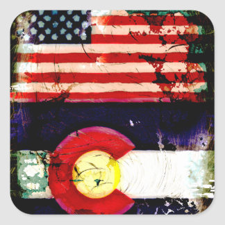 Grunge Style USA and Colorado Flags Square Sticker