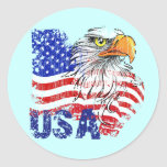 GRUNGE STYLE USA FLAG AND EAGLE CLASSIC ROUND STICKER