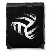 Grunge Style Volleyball Design Drawstring Bag