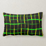 Grunge style yellow and green brush stroke abstrac pillow