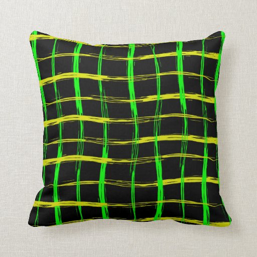 Grunge style yellow and green brush stroke abstrac throw pillows