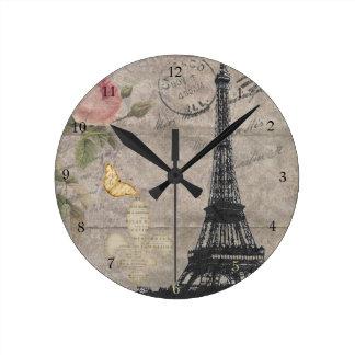 Grunge subió torre Eiffel de la mariposa de París  Reloj Redondo Mediano
