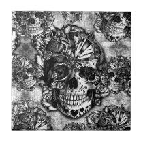 Grunge sugar skull pattern ceramic tile