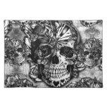Grunge sugar skull pattern cloth place mat