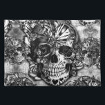 """Grunge sugar skull pattern cloth placemat<br><div class=""""desc"""">Grunge sugar skull pattern in black and white color palette.</div>"""