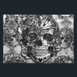 "Grunge sugar skull pattern cloth placemat<br><div class=""desc"">Grunge sugar skull pattern in black and white color palette.</div>"
