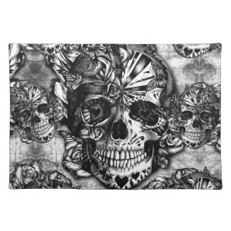 Grunge sugar skull pattern cloth placemat
