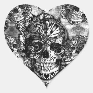 Grunge sugar skull pattern heart sticker