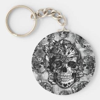 Grunge sugar skull pattern keychains