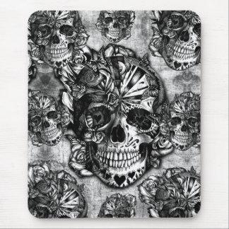 Grunge sugar skull pattern mouse pad