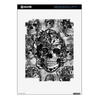 Grunge sugar skull pattern iPad 3 skins