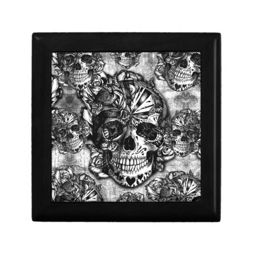 Grunge sugar skull pattern trinket box
