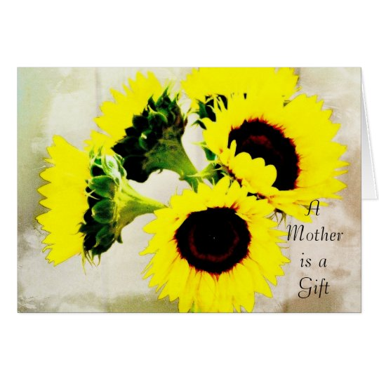 Grunge Sunflowers Mother's Day Card