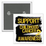 Grunge Support Childhood Cancer Awareness Button