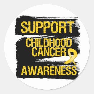 Grunge Support Childhood Cancer Awareness Round Stickers