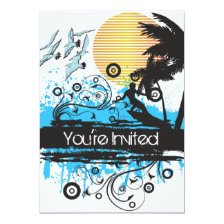 Grunge Surfing Beach Surfer Birthday Party 5x7 Paper Invitation Card