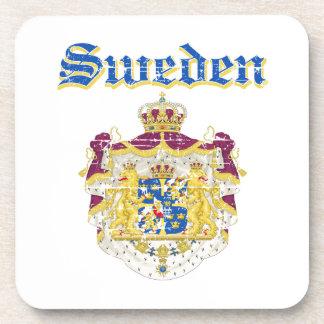 Grunge Sweden coat of arms designs Drink Coaster