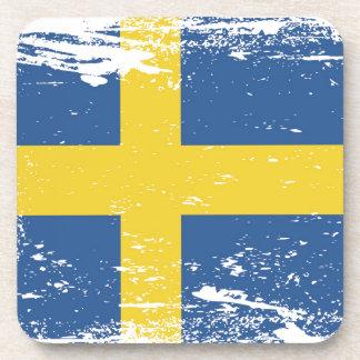 Grunge Sweden Flag Beverage Coaster