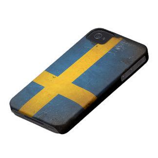 Grunge Sweden Flag iPhone 4 Case-Mate Cases