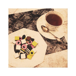 Grunge sweets and a cup of tea canvas print