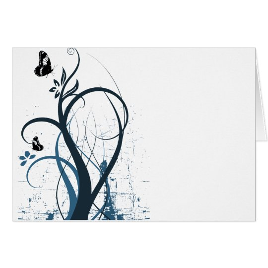 Grunge Swirl Butterfly 2 - Blue Card