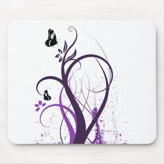 Grunge Swirl Butterfly 2 - Purple Mouse Pad