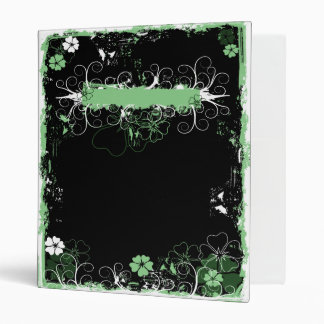 Grunge Swirl Flowers Binder Black Green