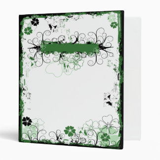 Grunge Swirl Flowers Custom Binder White Green