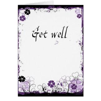 Grunge Swirl Flowers Get Well Card Purple