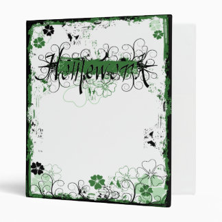 Grunge Swirl Flowers Homework Binder White Green