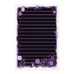Grunge Swirl Flowers Lined Stationery Black Purple