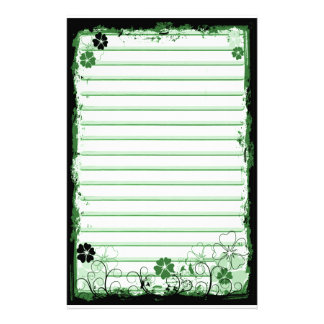 Grunge Swirl Flowers Lined Stationery White Green