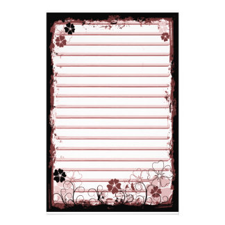Grunge Swirl Flowers Lined Stationery White Red