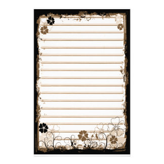 Grunge Swirl Flowers Lined Stationery White Sepia