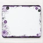Grunge Swirl Flowers Mousepad Purple