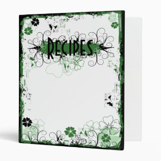 Grunge Swirl Flowers Recipes Binder White Green