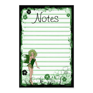 Grunge Swirl Flowers St. Patrick's Day Green Fairy Stationery