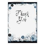 Grunge Swirl Flowers Thank You Card Blue