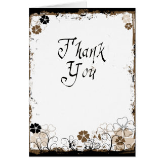 Grunge Swirl Flowers Thank You Card Sepia Brown