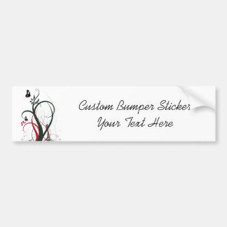 Grunge Swirls 2 Butterflies Original Black Red Car Bumper Sticker