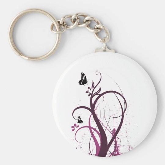Grunge Swirls 2 Butterflies Pink Keychain