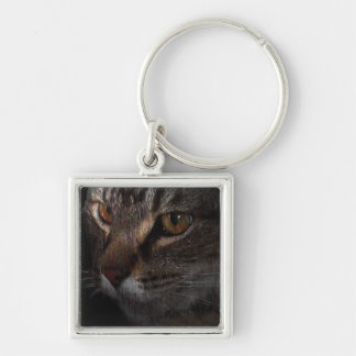 Grunge Tabby Cat Face in Shadow Key Chain