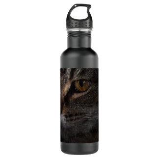 Grunge Tabby Cat Face in Shadow Stainless Steel Water Bottle