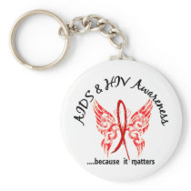 Grunge Tattoo Butterfly 6.1 AIDS Keychain