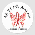 Grunge Tattoo Butterfly 6.1 AIDS Classic Round Sticker