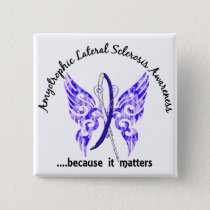 Grunge Tattoo Butterfly 6.1 ALS Pinback Button