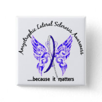 Grunge Tattoo Butterfly 6.1 ALS Pinback Button