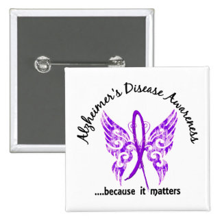 Grunge Tattoo Butterfly 6.1 Alzheimer's Disease 2 Inch Square Button